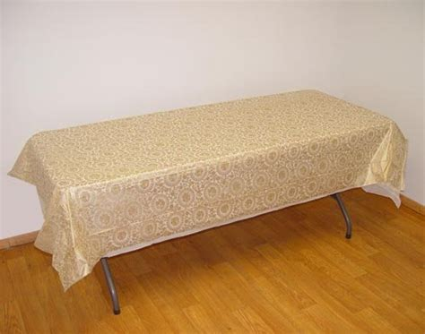 gold plastic table covers gold lace rectangular plastic tablecloths apartysource