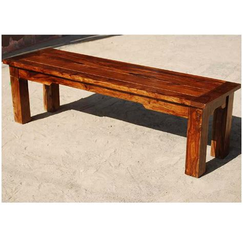 Handcrafted Wooden Benches - marion handcrafted rustic solid wood backless dining bench