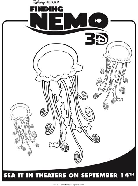 nemo jellyfish coloring pages character coloring and activity pages jellyfish