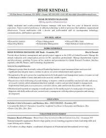 exle bank business manager resume free sle