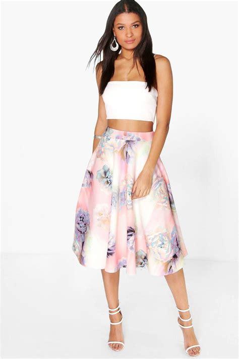 raia pastel floral midi skirt at boohoo