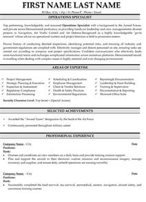 top military resume templates sles operations specialist resume template premium resume sles exle