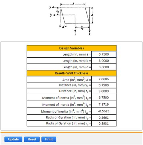 section properties calculator parallelogram section properties equation and calculator