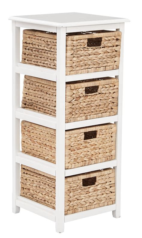Wooden Storage Tower With Drawers by 4 Drawer Espresso Or White Wood Storage Tower W Baskets