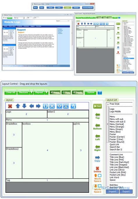 html layout generator software website layout maker screenshot and download at snapfiles com