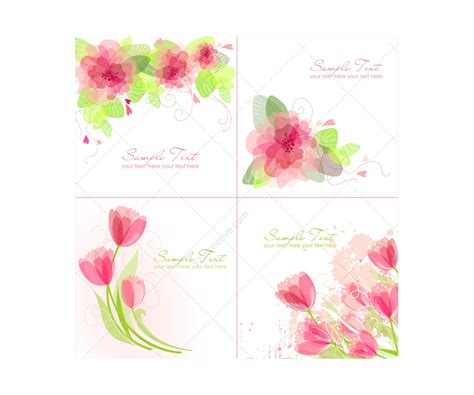 birthday card template floral vector greeting cards with flowers floral card templates