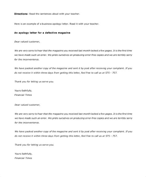 Apology Letter Template Business Sle Business Apology Letter 7 Documents In Pdf Word