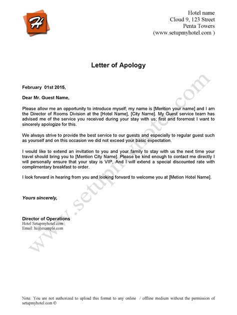 Exle Apology Letter Hotel Guest Apology Letter Sle Send To Hotel Guests