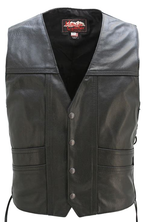 leather vest full back cruiser motorcycle leather vest with gun pockets