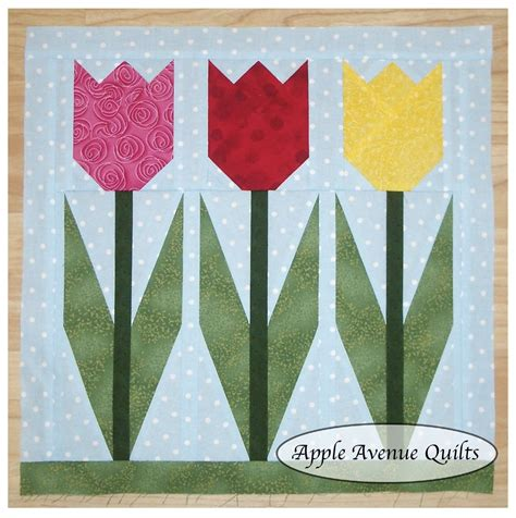Free Tulip Quilt Block Pattern by Apple Avenue Quilts Free 2012 Block Of The Month