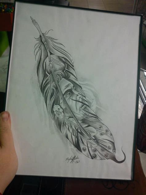 drawn feather aboriginal pencil and in color drawn