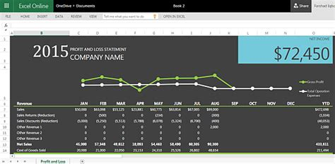 Profit And Loss Statement Template For Excel P L Presentation Template