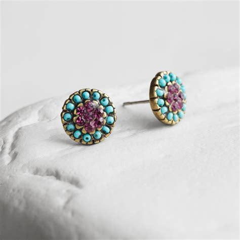 turquoise and purple stud earrings world market