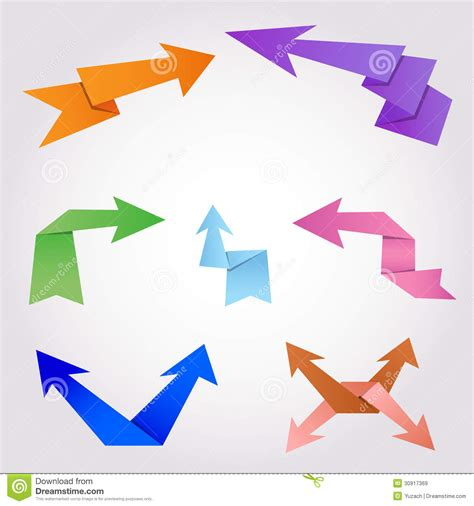 How To Make A Origami Arrow - origami arrows made of folding paper stock vector image