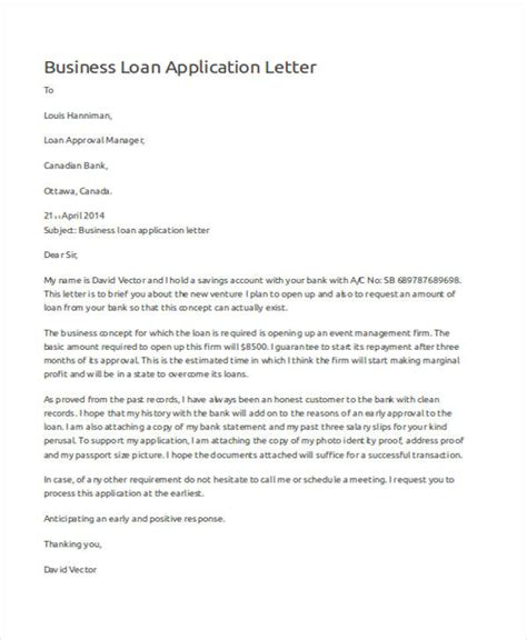 Loan Request Letter For Business 46 application letter exles sles pdf doc