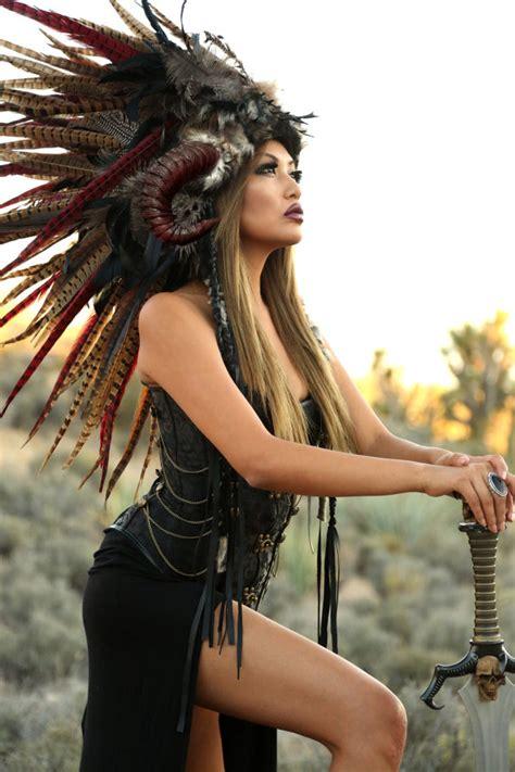 chi siriwardana modern indian braid headdress ready toship feather mohawk warrior headdress
