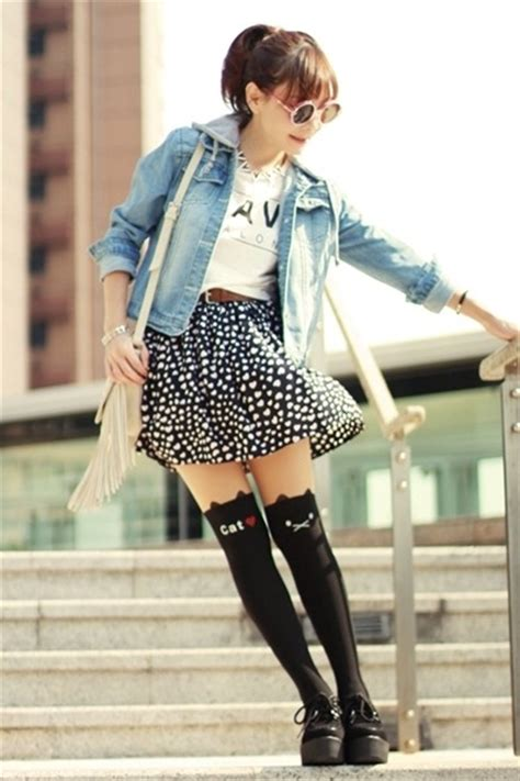 Cat Print Tights light blue sheinside jackets black cat print tights