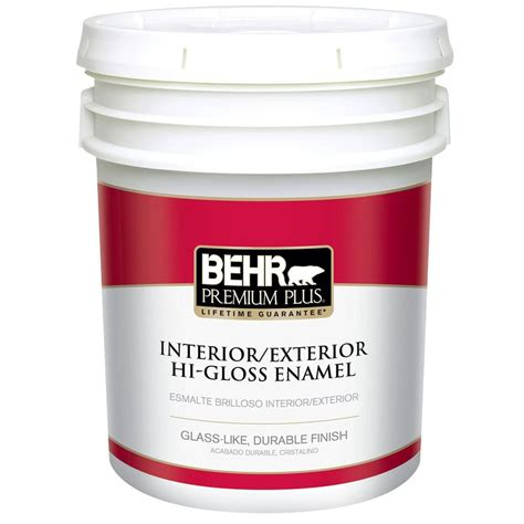high gloss paint behr premium plus 5 gal ultra pure white hi gloss enamel