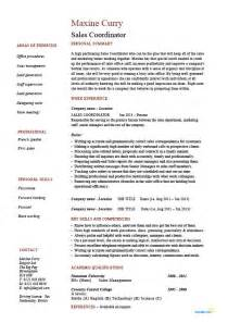Sle Of A Cv Resume by Sales Coordinator Resume Sle Exle Description Customer Service Marketing Work Skill