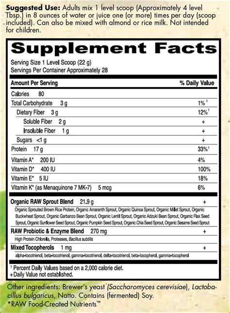 Garden Of Nutrition Facts Garden Of Organic Protein 622 Grams