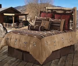 Chocolate Duvet Cover Southwestern Navaho Cowhide Cross Rustic Bedding Set