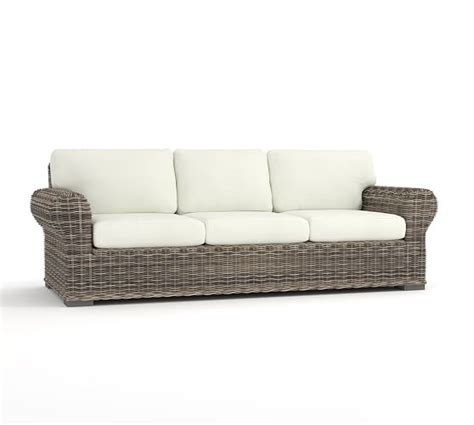 all weather wicker sectional huntington all weather wicker roll arm sofa pottery barn
