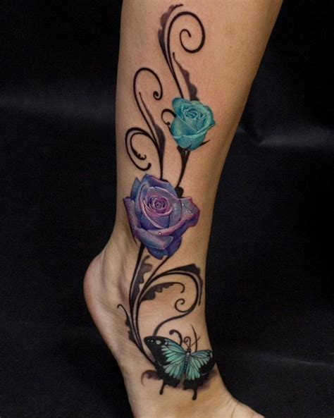 3d like elegant colored roses with butterfly tattoo on