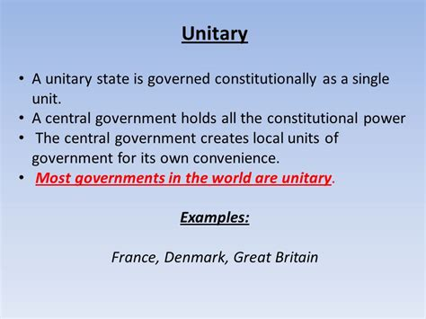 exle of unitary government confederal unitary and federal ppt