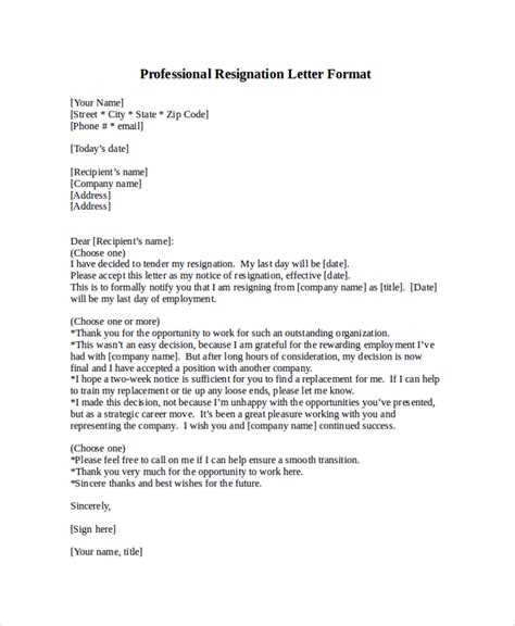 Resignation Letter It Professional by Professional Letter Format Sle 8 Exles In Pdf Word