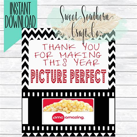 printable amc movie gift certificates instant download thank you for making this year picture