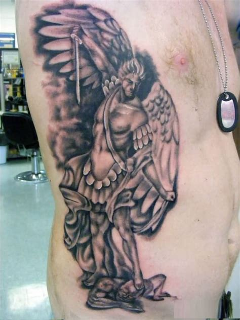 True 3d Tattoo Of Guardian Angel With Sword Tattoo On Men Ngel With Sword Tattoos For