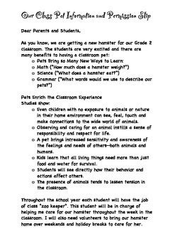 Parent Letter About Class classroom pet letter to the parents by i teaching store tpt