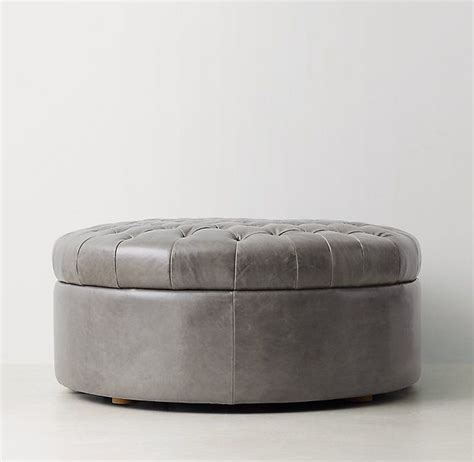 round leather ottoman storage tufted large round leather storage ottoman furniture