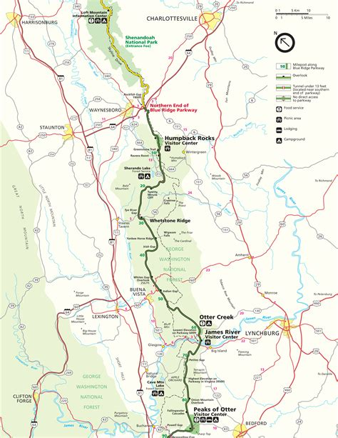 map of blue ridge parkway blue ridge parkway maps travel information hiking trails
