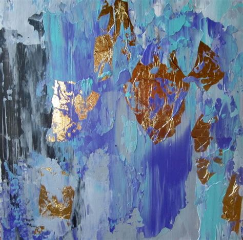 gold abstract painting small gold leaf abstract painting 8x8 eclectic artwork