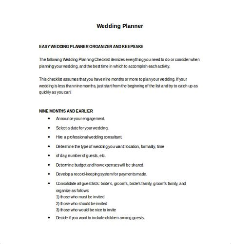 13 Wedding Planner Templates Pdf Word Format Download Free Premium Templates Sle Wedding Planner Templates