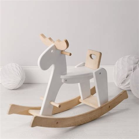 white wooden reindeer wooden rocking reindeer from the white company