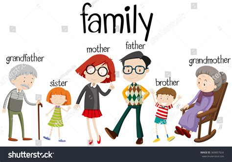 Search Family Members Family Members With Three Generations Illustration 369007634