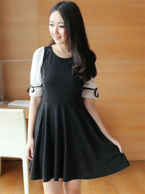 Dress Korea Black korean fashion chiffon half sleeve black dress