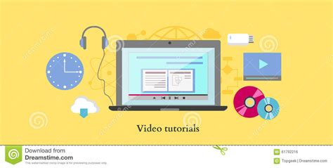 tutorial flat design web video tutorial icon flat design style stock vector image