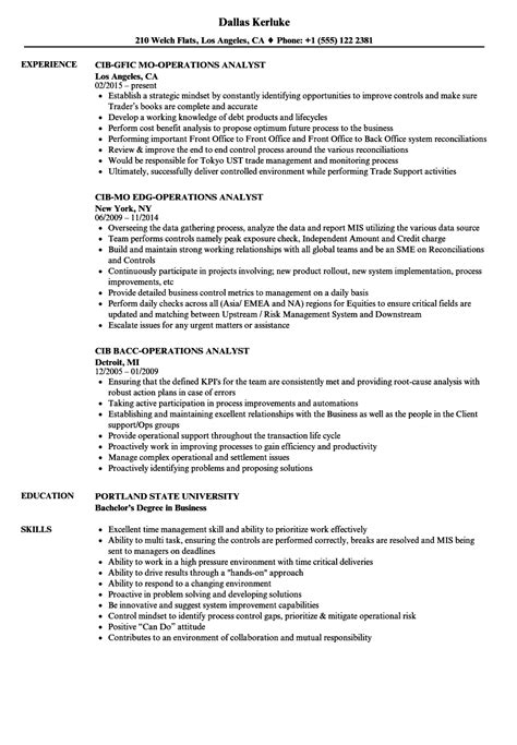 Operations Analyst Resume Exle by Cib Operations Analyst Resume Sles Velvet