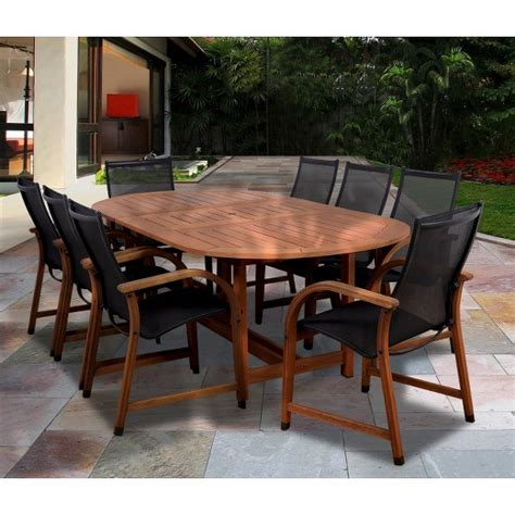 Target Patio Dining Set Gables 9 Wood Sling Extendable Oval Patio Dining Furniture Set Target