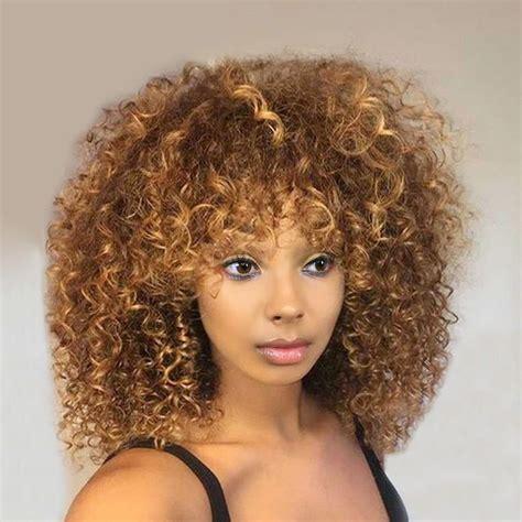 afro kinky fringe styles 2018 medium side fringe shaggy colormix afro kinky curly