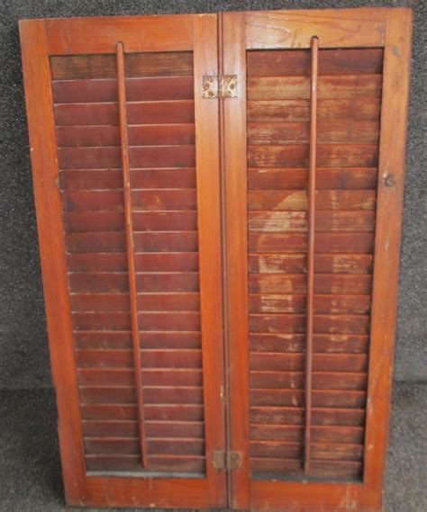 louvered shutters interior windows set of antique louvered interior window shutters 19 1 2 quot x