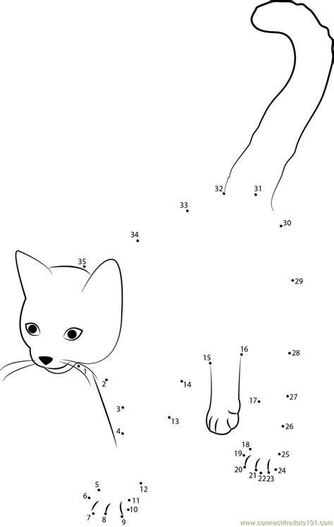 printable dot to dot cat cute cat dot to dot printable worksheet connect the dots