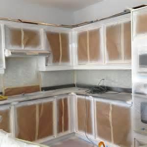 Spray painting kitchen base cabinets kick plates crowns valances