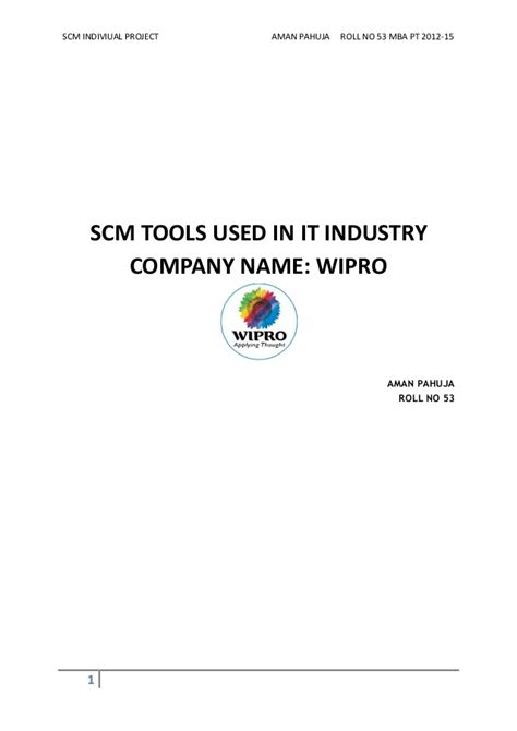 Project On Wipro For Mba by Supply Chain Process In Wipro