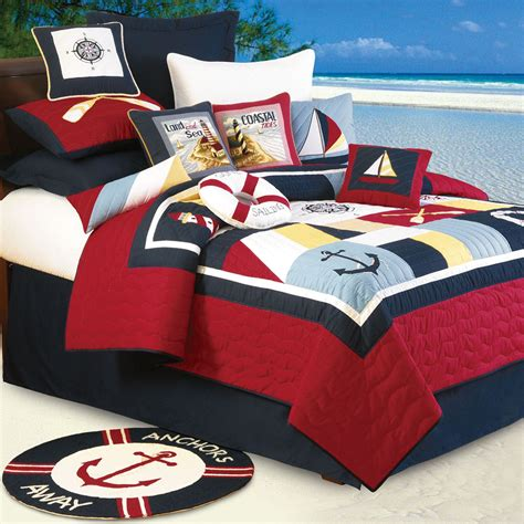 nautical bed sheets sail away nautical cotton quilt bedding