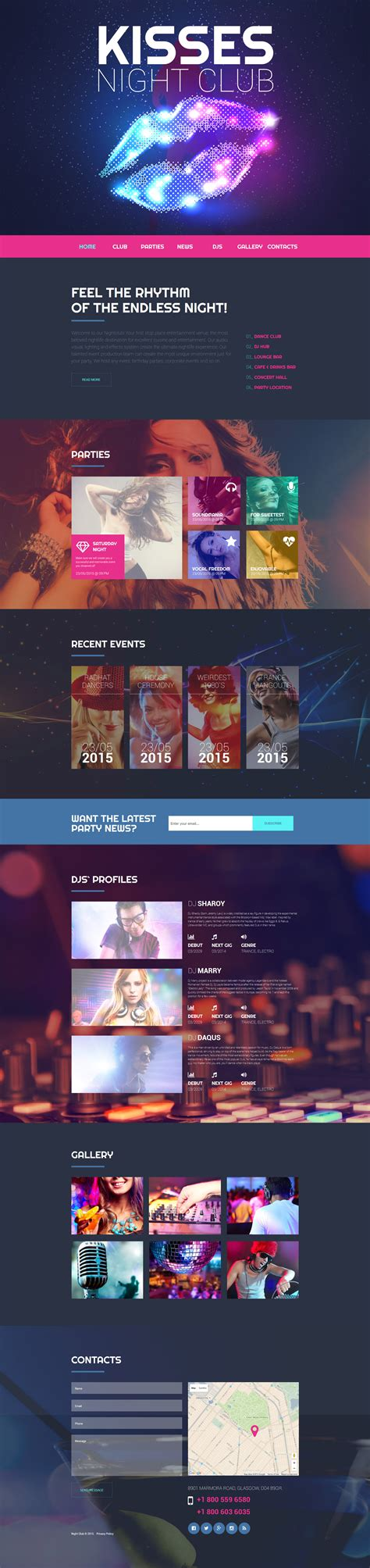 templates for entertainment website night club web template