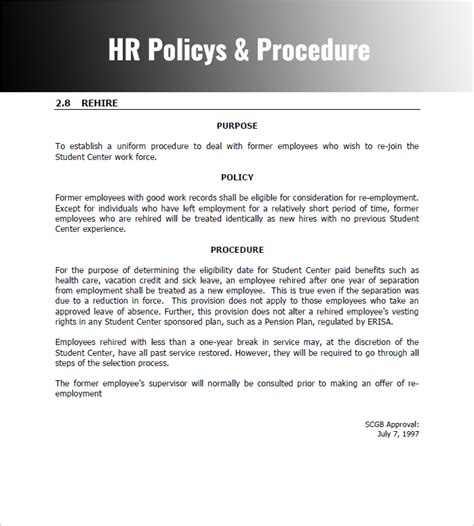employee procedure manual template hr policy procedure manual template